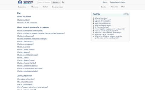 Screenshot of FAQ Page foundum.com - Frequently Asked Questions about Foundum - captured Sept. 25, 2014