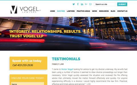 Screenshot of Testimonials Page vogel-llp.ca - Testimonials   Vogel LLP 403-255-2636   T2W 4X9 - captured Nov. 12, 2017
