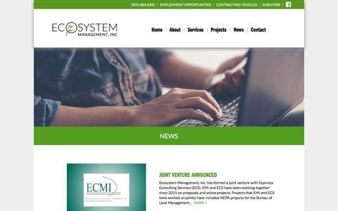 Screenshot of Press Page emi-nm.com - News - Ecosystem Management, Inc - captured July 15, 2017