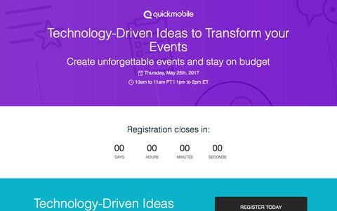 Screenshot of Landing Page quickmobile.com - Technology-Driven Ideas to Transform your Events - captured June 23, 2017