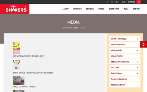 Screenshot of Press Page shakersappliances.com - Media – Shakers Appliances - captured Oct. 24, 2017