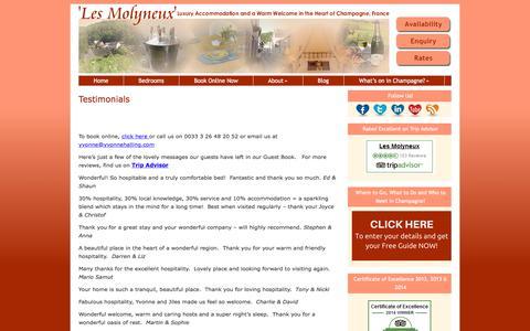Screenshot of Testimonials Page bedandbreakfastinchampagne.com - Les Molyneux Testimonials | Luxury B&B Family-Run Accommodation, Champagne Region, France - captured Aug. 1, 2018