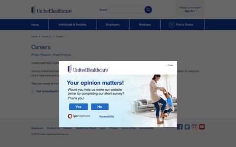 Screenshot of Jobs Page uhc.com - Careers | UnitedHealthcare - captured July 5, 2018