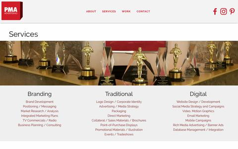 Screenshot of Services Page pmaadvertising.com - PMA Advertising, Inc. | Palm Springs, California - captured July 9, 2018