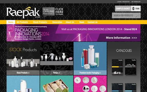 Screenshot of Site Map Page raepak.co.uk - Raepak Ltd, plastic bottles, jars, dispensing pumps, acrylic containers, colour cosmetics and bath products supplier. - captured Oct. 7, 2014