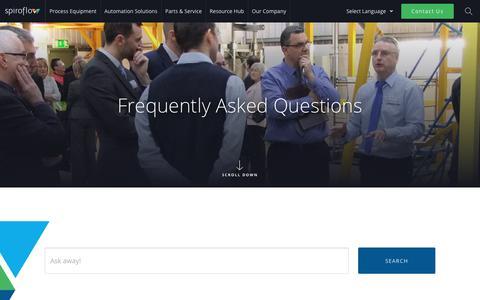 Screenshot of FAQ Page spiroflow.com - FAQs - Spiroflow - captured April 25, 2018