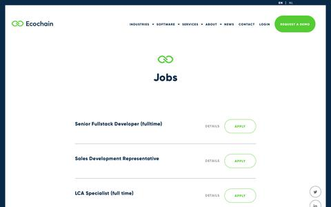 Screenshot of Jobs Page ecochain.com - Jobs - Ecochain - captured Sept. 27, 2018