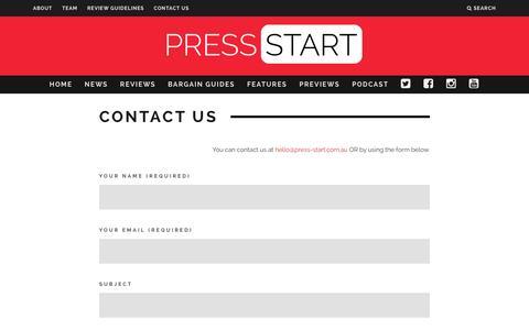 Screenshot of Contact Page press-start.com.au - Contact Us | Press Start Australia - captured Jan. 31, 2016