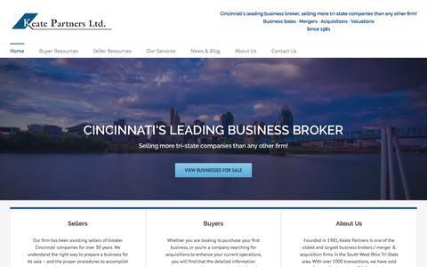Screenshot of Home Page keatepartners.com - Cincinnati's Leading Business Broker - Keate Partners - captured Oct. 17, 2017