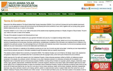 Screenshot of Terms Page saudi-sia.com - Terms & Conditions   Saudi Arabia Solar Industry Association - captured Oct. 26, 2014