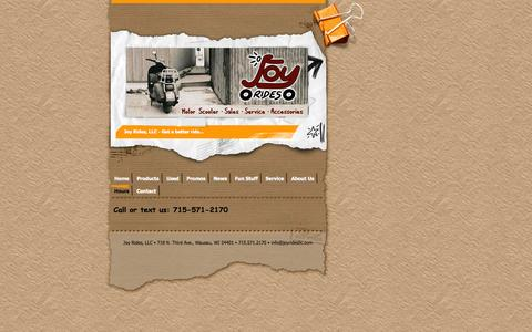 Screenshot of Hours Page joyridesllc.com - Hours - Joy Rides, LLC Scooters & Accessories Wausau - captured Sept. 26, 2014