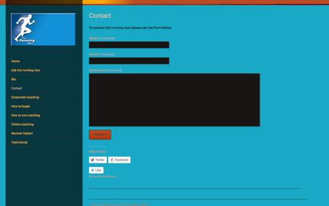 Screenshot of Contact Page the-running-man.co.uk - Contact | The running man - captured Oct. 9, 2014