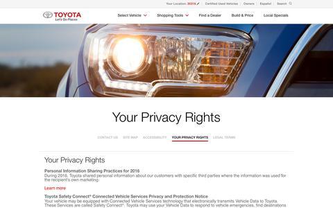 Screenshot of Privacy Page toyota.com - Privacy | Toyota.com - captured Nov. 13, 2017
