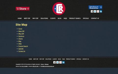 Screenshot of Site Map Page crpromotionsrule.com - Site Map - captured Oct. 1, 2014