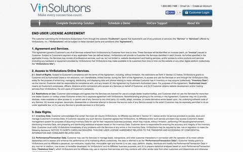 Screenshot of Terms Page vinsolutions.com - VinSolutions > Terms of Use - captured Nov. 4, 2014