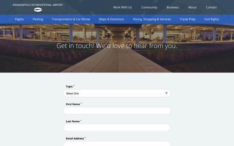 Screenshot of Contact Page indianapolisairport.com - Contact   Indianapolis Airport Authority - captured Oct. 15, 2017