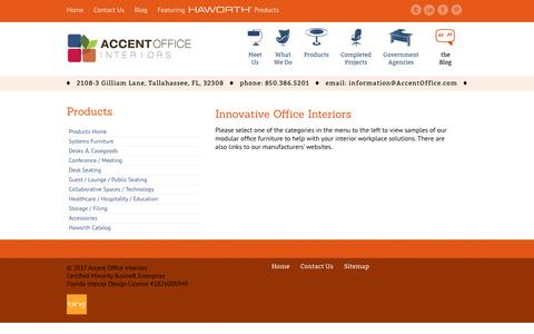 Screenshot of Products Page accentoffice.com - Modular Office Furniture & Interior Workspace Solutions in Florida | Accent Office Interiors - captured Oct. 7, 2017