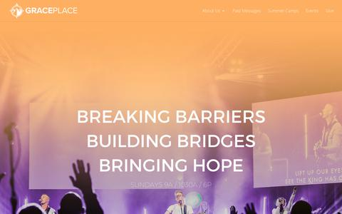Screenshot of Home Page graceplace.org - Home | Grace Place - captured July 22, 2018