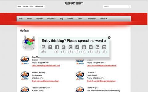 Screenshot of Team Page allsportsselect.com - Our Team - captured Dec. 24, 2015