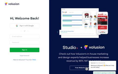 Screenshot of Login Page volusion.com - Login Form - captured June 14, 2019