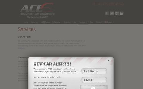 Screenshot of Services Page americancarexporters.com - Services | American Car Exporters - captured Sept. 19, 2014