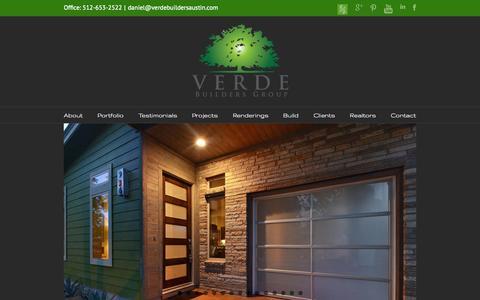 Screenshot of Home Page verdebuildersaustin.com - Verde Builders Group | Custom Home Builder in Austin | East Austin Builder | Modern Austin Builder | Green Builder in Austin | SmartHouse Design™ - captured Oct. 6, 2014