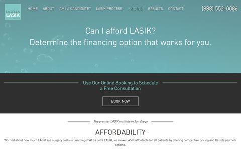 Screenshot of Pricing Page lajollalasik.com - LASIK Eye Surgery Cost in San Diego | La Jolla Lasik - captured Dec. 5, 2017