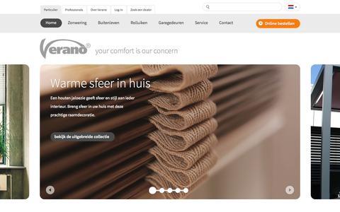 Screenshot of Home Page verano.nl - Zonwering en rolluiken van Verano - captured Oct. 6, 2014