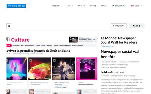 Screenshot of Press Page dialogfeed.com - Le Monde: Newspaper Social Wall for Readers ⋆ - captured Oct. 12, 2017