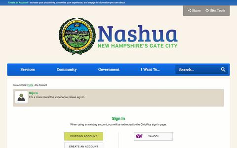 Screenshot of Login Page nashuanh.gov - Nashua, NH - captured Jan. 1, 2018