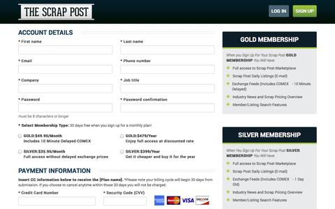 Screenshot of Signup Page Trial Page thescrappost.com - Scrap Metal Prices | Sign Up For The Scrap Post - captured Oct. 25, 2014