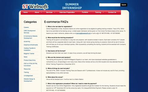 Screenshot of FAQ Page stwebsoft.com - E-commerce FAQ's  |  ST Websoft - captured Sept. 30, 2014