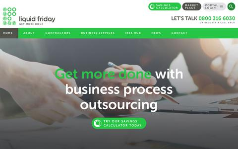 Screenshot of Home Page liquidfriday.co.uk - Contractor Umbrella Company | Agency Support | Liquid Friday - captured March 23, 2018