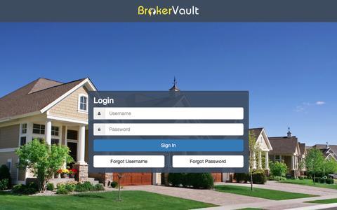 Screenshot of Login Page brokervault.com - Login   BrokerVault - captured July 30, 2016