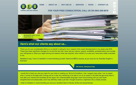 Screenshot of Testimonials Page bebconsultancy.co.uk - Here's what our clients say about us... | BEB Contract and Legal Services - captured Oct. 4, 2014