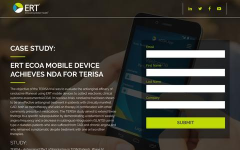 Screenshot of Landing Page ert.com - eCOA Mobile Device Achieves NDA for TERISA | ERT - captured Sept. 7, 2016