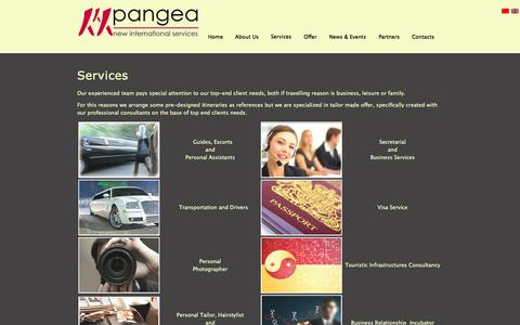 Screenshot of Services Page pangea.mc - Services - captured Oct. 1, 2014