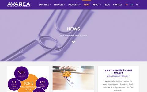 Screenshot of Press Page avarea.fi - news Archive | Avarea Oy - captured Oct. 9, 2017