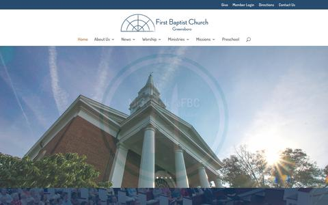 Screenshot of Home Page fbcgso.org - First Baptist Church Greensboro | - captured Nov. 14, 2018