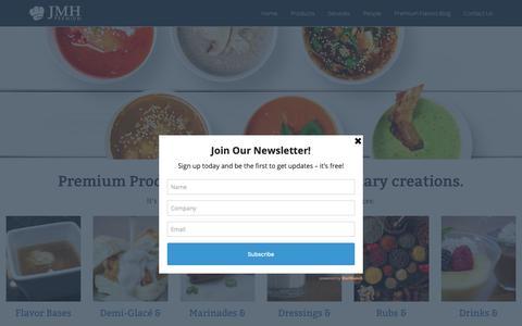 Screenshot of Products Page jmhpremium.com - ⋆ JMH Premium's Full Line of in Stock Flavor Solutions - captured Nov. 12, 2018