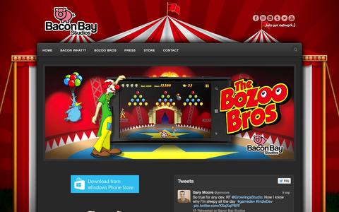 Screenshot of Home Page baconbay.net - Bacon Bay Studios - Enjoy the play! - captured Oct. 5, 2014