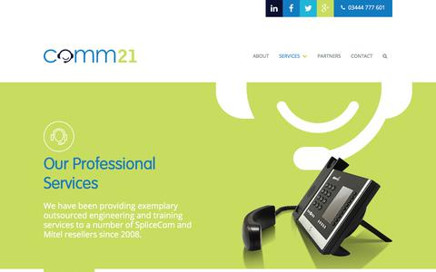 Screenshot of Services Page comm21.com - Our Professional Services - Comm21 - captured July 20, 2018