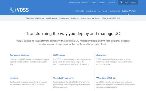Screenshot of About Page voss-solutions.com - About VOSS - VOSS Solutions - captured Oct. 10, 2014