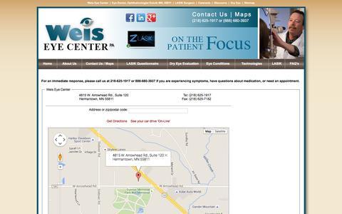 Screenshot of Maps & Directions Page weiseyecenter.com - Maps - captured Jan. 13, 2016