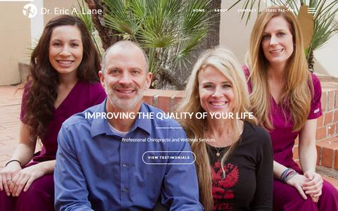 Screenshot of Home Page drericlane.com - Tucson Chiropractor - Dr. Eric A. Lane - captured Feb. 2, 2016