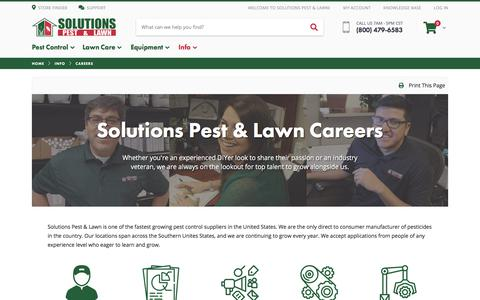 Screenshot of Jobs Page solutionsstores.com - Career Opportunities | Solutions Pest & Lawn | Solutions Pest & Lawn - captured June 29, 2019