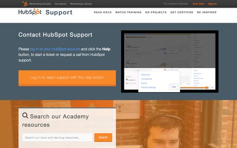 Screenshot of Support Page hubspot.com - Help & Support | HubSpot - captured Feb. 25, 2016