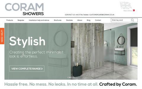Screenshot of Home Page coram.co.uk - Coram Shower Enclosures - captured Sept. 29, 2018