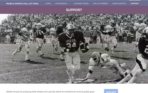 Screenshot of Support Page mobilesportshalloffame.com - SUPPORT | Mobile Sports Hall of Fame - captured June 1, 2016