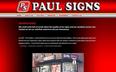 Screenshot of Testimonials Page paulsignsny.com - testimonials | Paul Signs - Brooklyn Signs | New York signs | Signs NYC | NYC signs | Signs New York - captured Oct. 21, 2018
